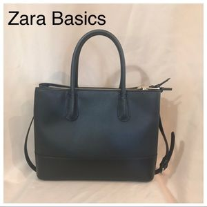 Zara Basics black leather tote w removable strap